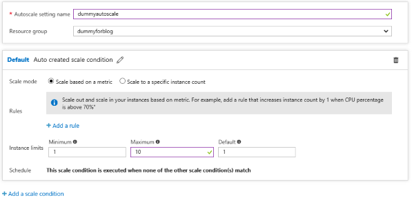 Screenshot setting Auto Scale di Azure App Service
