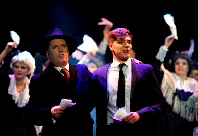 The Irving Stage Company production of The Producers at the Theatre Royal in Bury St Edmunds. Nic Metcalfe as Max Bailystock and George Lane as Leo Bloom PICTURE ANDY ABBOTT