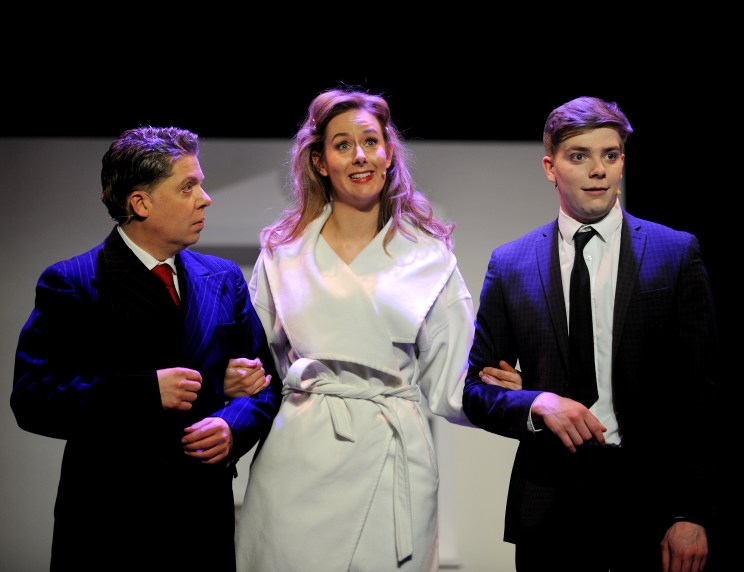 The Irving Stage Company production of The Producers at the Theatre Royal in Bury St Edmunds. Nic Metcalfe as Max Bailystock and George Lane as Leo Bloom with Jessica Hughes as Ulla PICTURE ANDY ABBOTT