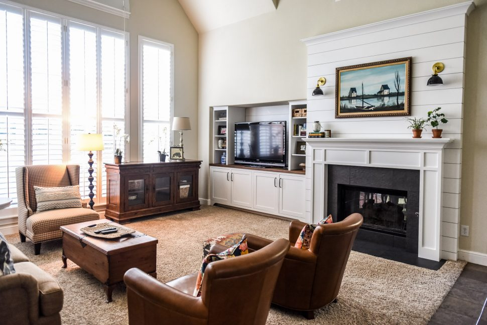 living room shelving unit traditional style furniture sofas double-sided fireplace before & after