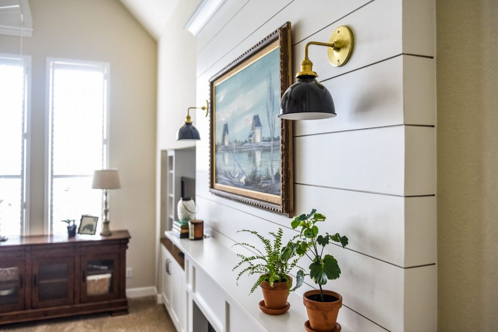 living room shelving unit color palette for double-sided fireplace before & after