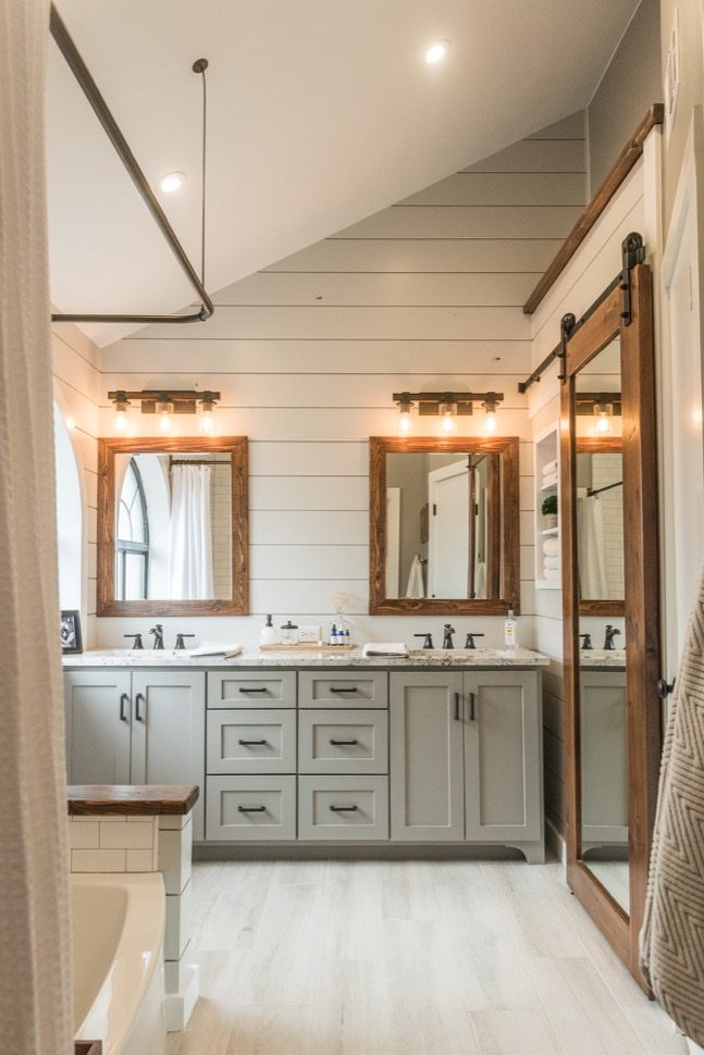 Modern Farmhouse Bathroom Before  After  Irwin Construction