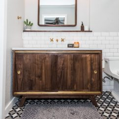 Wood Tile Floor Kitchen Islands Lowes Midcentury Modern Bathroom Before & After - Irwin Construction