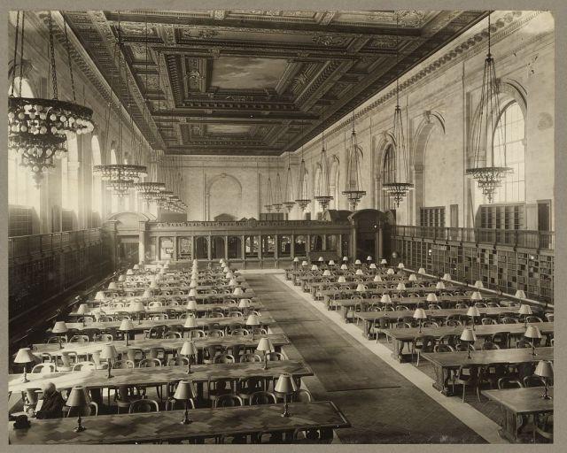 New York City Public Library reading room, ca 1911