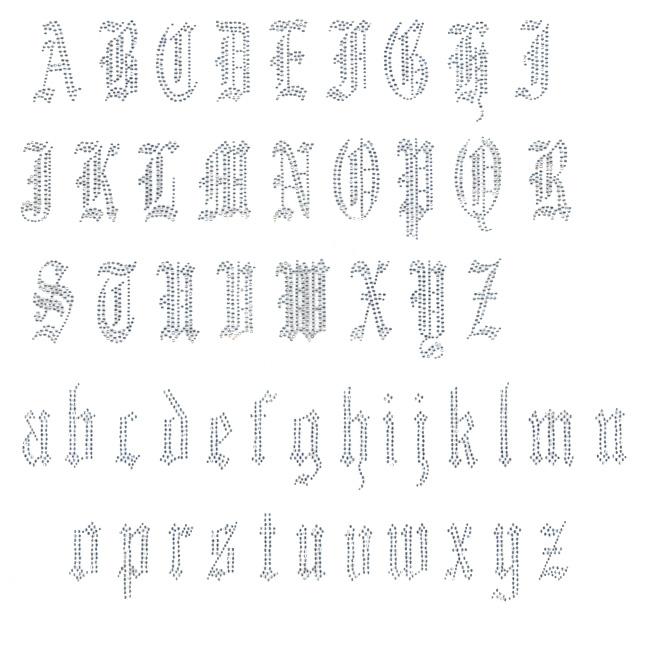 S4069: OLD ENGLISH FONT LETTERS A-Z, ALPHABET, DESIGNER
