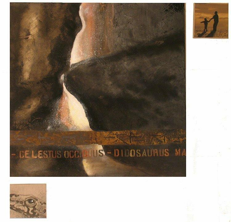 Les gorges du Régalon - 122x122cm - technique mixte - 2009 - 800 €.