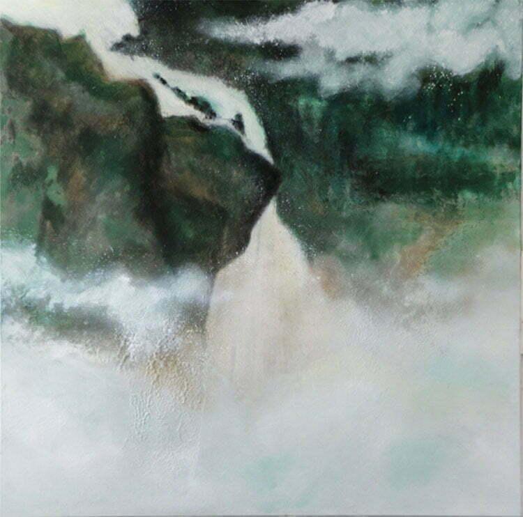 Cascades (Alpes) - N°6 - 100x100cm - huile sur toile - juin 2014 - 800 €.