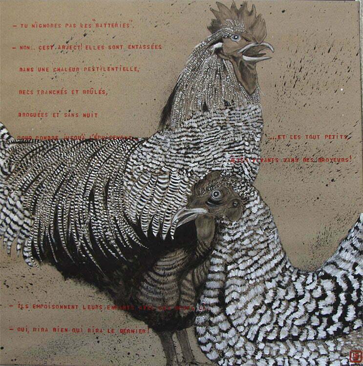 N°18 - 100x100cm - dessin encre de Chine sur toile, écriture acrylique - septembre 2015 - 800 €.