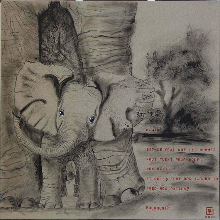 N°3 - 90x90cm - dessin encre de Chine sur toile, écriture acrylique - mars 2014 - 750 €.