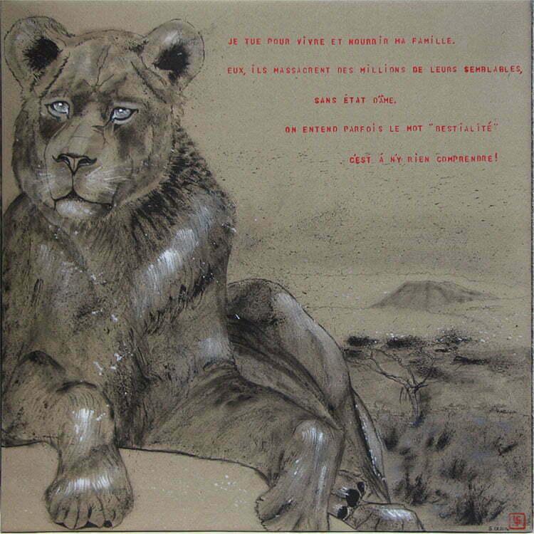 N°6 - 100x100cm - dessin encre de Chine sur toile, écriture acrylique - septembre 2014 - 800 €.