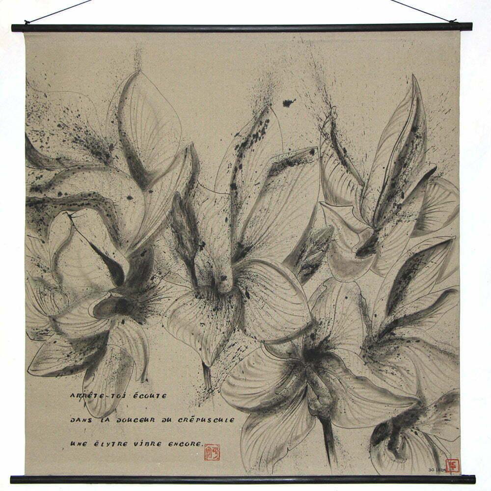 Dessin 1 - 100x100cm - dessin à l'encre de Chine sur toile - septembre 2015 - 800 €.