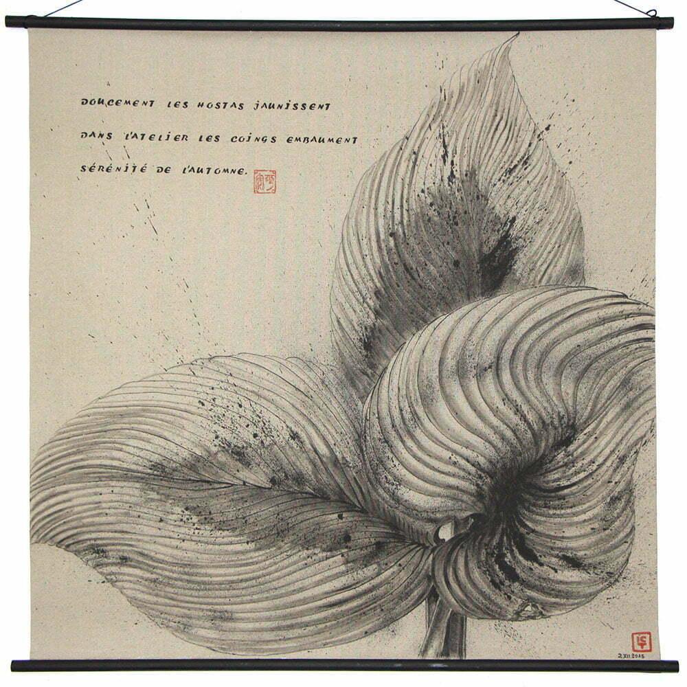Dessin 2 - 100x100cm - dessin à l'encre de Chine sur toile - décembre 2015 - 800 €.