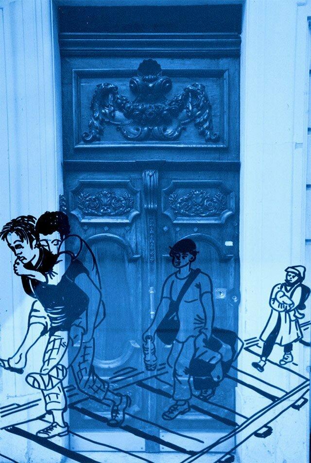 Sous-verre N°2 - technique : photo et dessin sur PVC - 30 X45 cm. Collection particulière.