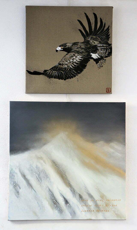 L'aigle royal : 150 X 80 cm, 24 juillet 2017. Huile sur toile et dessin à l'encre de Chine, acrylique et or sur toile, 900 €.