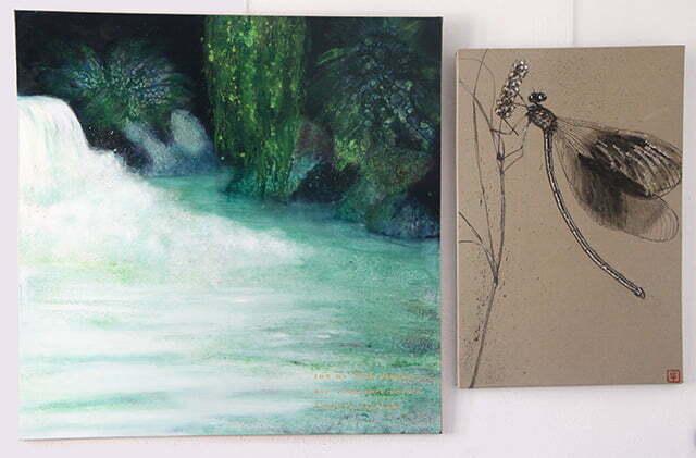 Les libellules de France : 100 X 164 cm, 10 avril 2018. Huile sur toile et dessin à l'encre de Chine, acrylique et or sur toile, 1000 €.