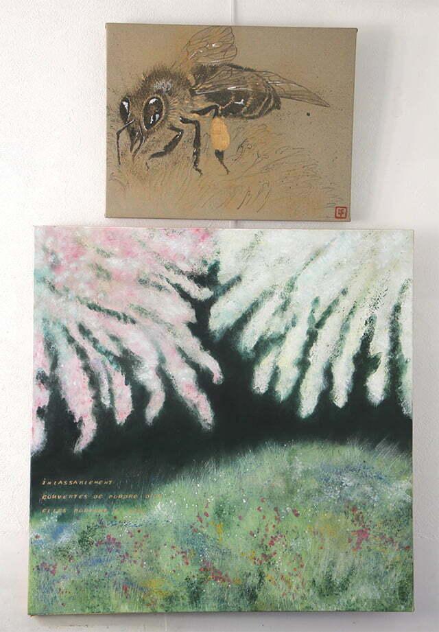 Les pollinisateurs, l'abeille, 100 X 159 cm, 14 juin 2018. Huile sur toile et dessin à l'encre de Chine, acrylique et or sur toile, 1000 €.