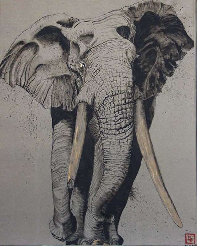 Dessin sur toile encre de chine, acrylique et or -Grand mâle du Kenya, en raréfaction 10 février 2019 - 80 X 100 cm : 700€