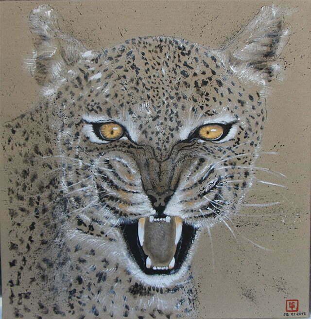 Dessin sur toile encre de chine, acrylique et or - Le léopard (géo) en voie de disparition - 29 novembre 2018 – 76,5 X 78 cm - Collection particulière.
