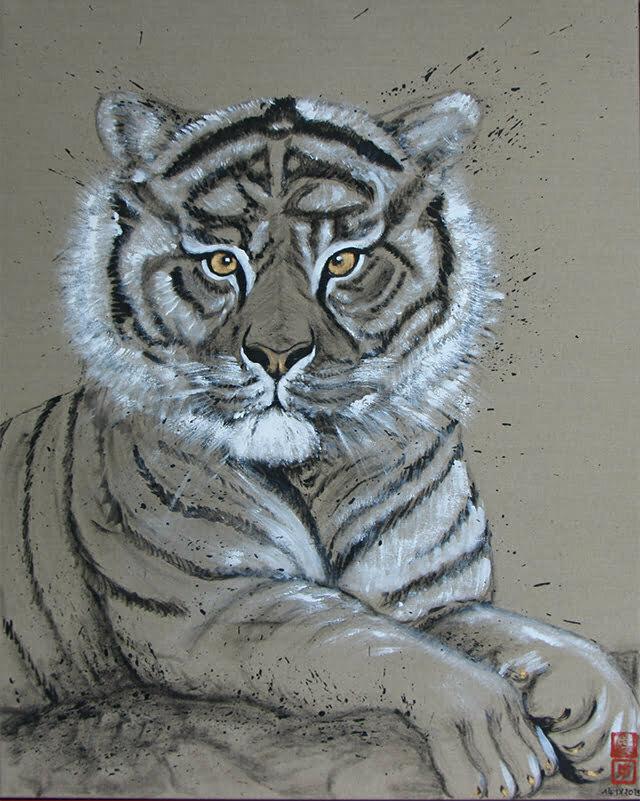 Dessin sur toile encre de chine, acrylique et or, jeune tigre de Palmyre, 14  septembre 2019, 100 X 80 cm  - Prix : 700€.