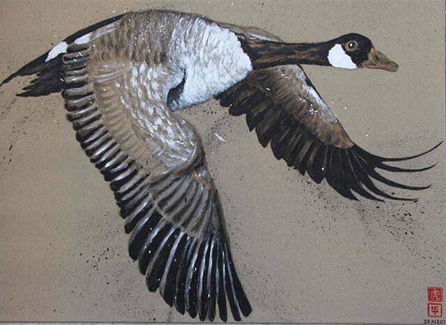 Dessin sur toile encre de chine, acrylique et or, la bernache, oie sauvage du Canada, 27 novembre 2019,73 X 100 cm - Prix: 650 €