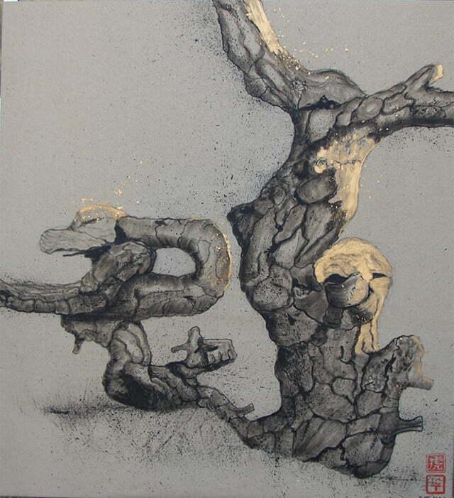 Dessin sur toile, encre de Chine, acrylique et or -  N2 3 mars 2020 - 100 X 92 cm :  800 €.