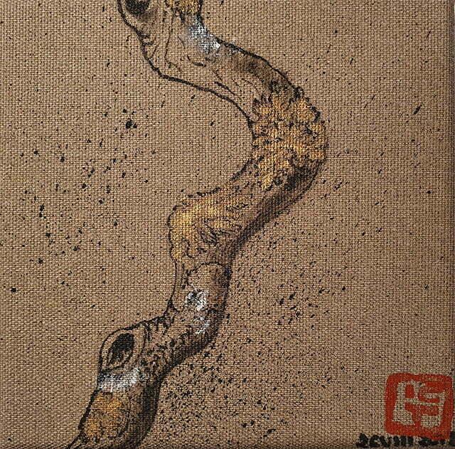 N° 20 —Bois flotté - 16 x 16 cm — Encre de Chine sur toile — 26 août 2018 — Prix 50 €.