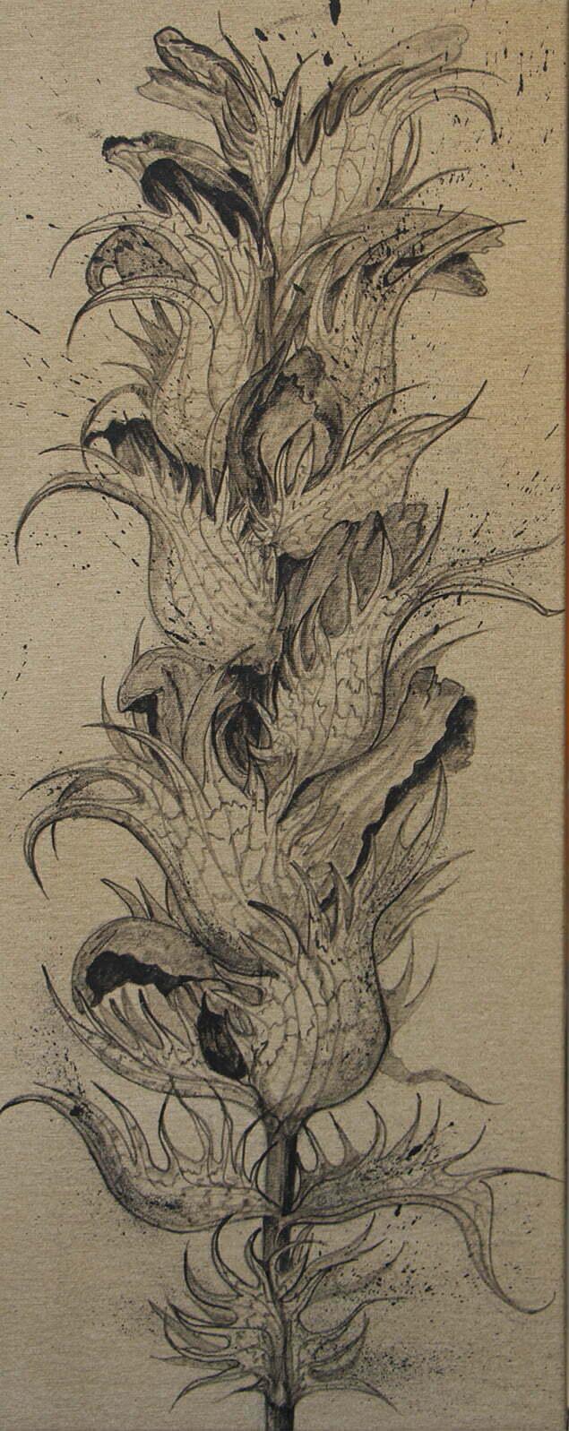Fleur d'acanthe sèche - 6 octobre 2020 - 40 x 100 cm  - encre de Chine sur toile - collection particulière.