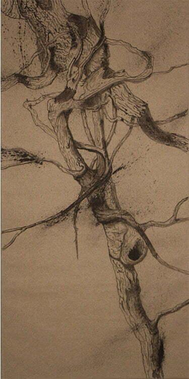 Racine - N°13 - 50x100cm - encre de Chine sur toile - 2013 -collection particulière.