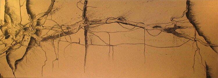 Racine - N°5 - 75x210cm - encre de Chine sur toile - 2009 - collection particulière.