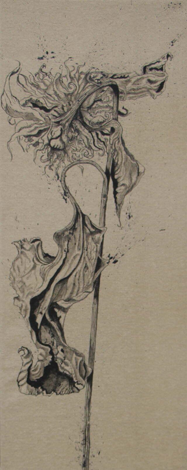 20 janvier 2021 - 40 x 100 cm - dessin encre de Chine sur toile – collection particulière.