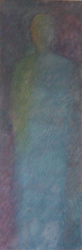 Statue bleue / pigments aquarellés / L 50 x H 150