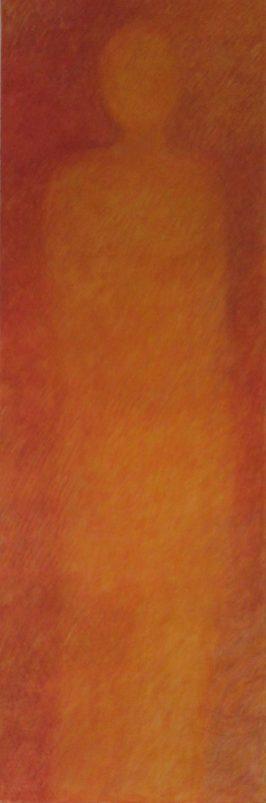 Statue rouge / pigments aquarellés / L 50 x H 150