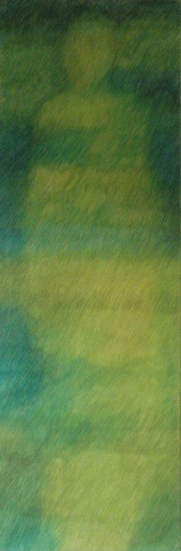 Statue verte / pigments aquarellés / L 50 x H 150