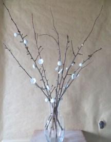 Bouquet fleurs / Terre sigillée et bois