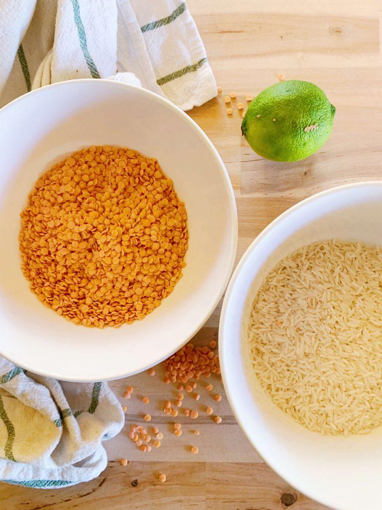 lentilles corail et riz pour le kitchari détox
