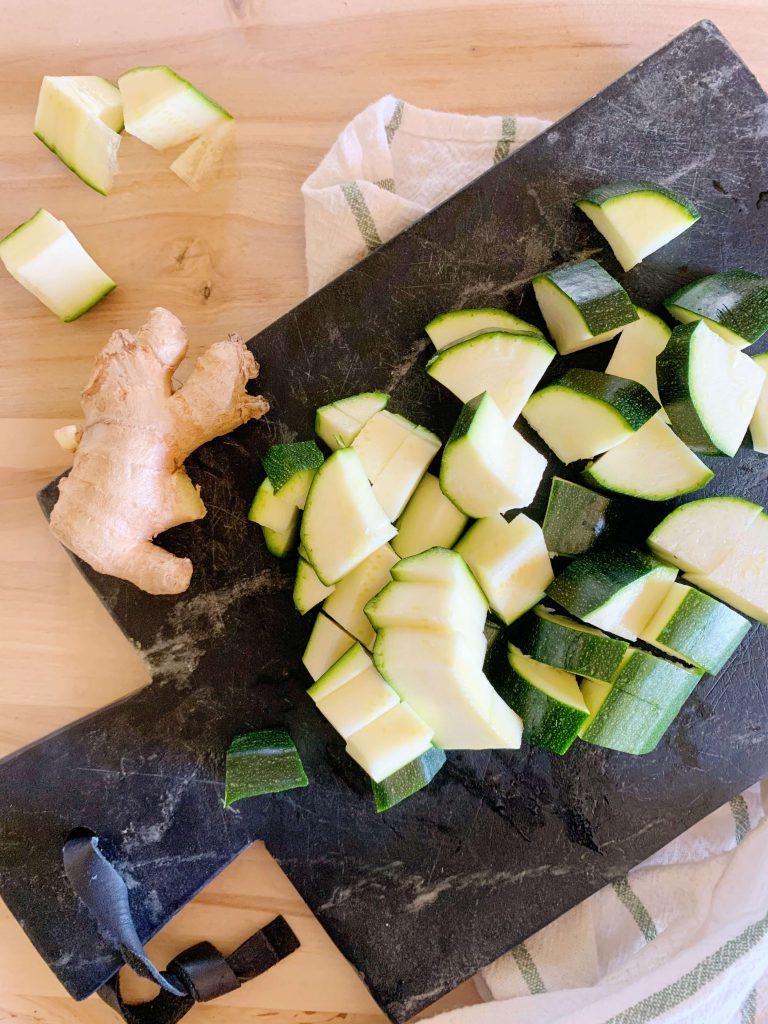 courgettes pour le kitchari détox repas ventre plat