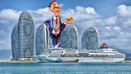 Un géant surplombant ses buildings luxueux, regarde un paquebot qui lui appartient, rempli de touristes, venir remplir ces coffres déjà pleins.