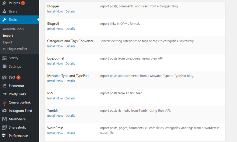 how to export a wordpress blog