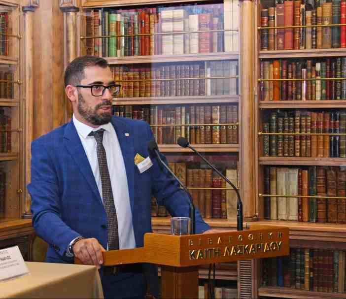 Ο κ. Γεώργιος Μάμαλης, Promotion Manager– Marine New Sales της MAN Energy Solutions Hellas κατά τη διάρκεια της παρουσίασής του