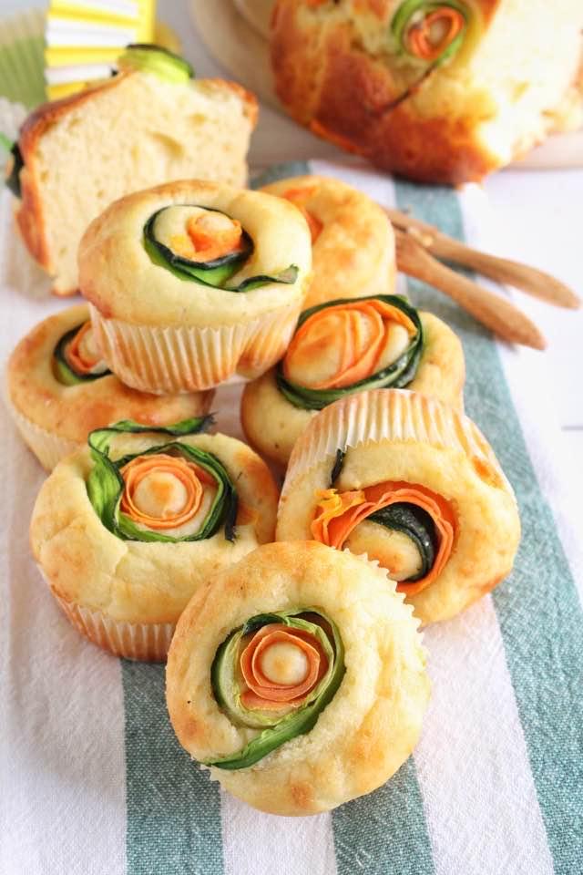 muffin con zucchine e carote a spirale