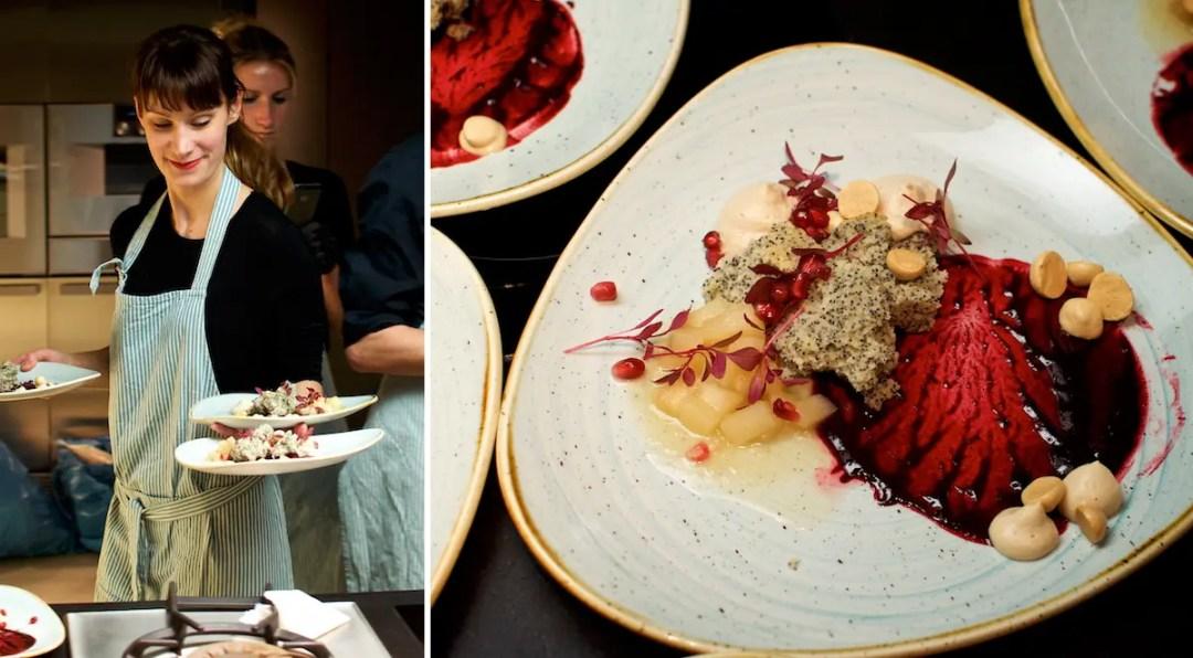 Stolz serviert Stella das Dessert ihres Secret Dinner STADT LAND FLUSS   Fotos: Monika Schreiner ISARBLOG