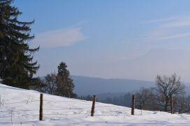 Am Rücken des Höhenzugs angekommen hat man bei passender Wetterlage einen tollen Ausblick in die Alpen - bei uns eher schemenhaft zu erkennen