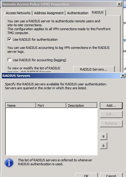 Figure 2: Specify the RADIUS Server