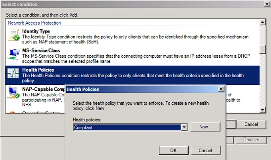 Figure 11: Select the Compliant Health Policy