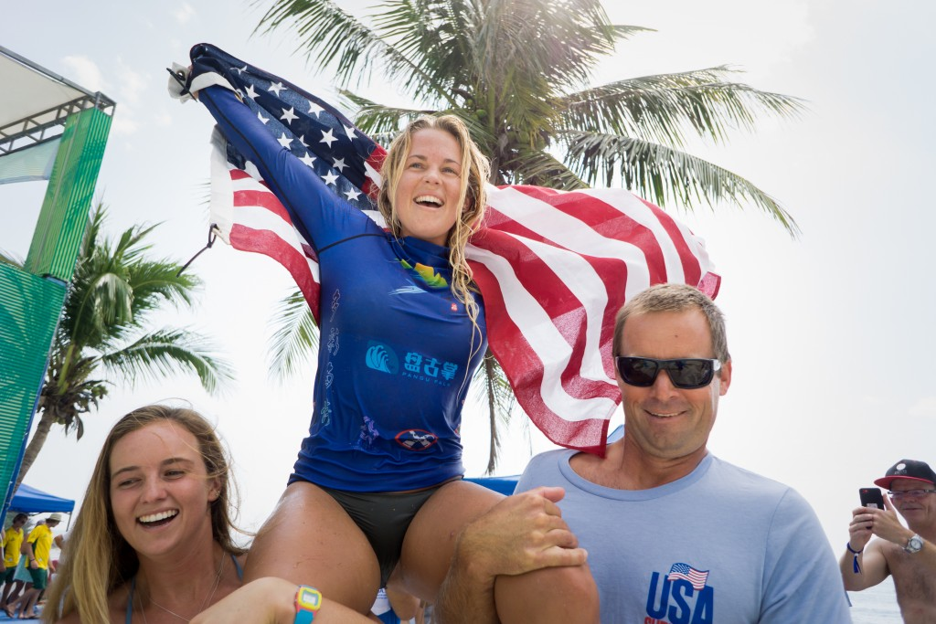 Nothing but Gold for Tory Gilkerson between winning the ISA Aloha Cup, Women's Division, and Team World Championship. Photo: ISA / Sean Evans