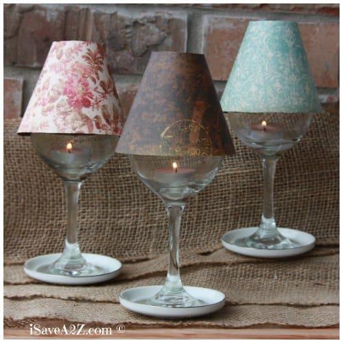 Wine Glass Lamp Shade DIY Project  iSaveA2Zcom