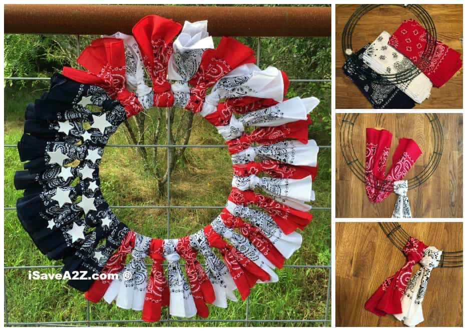 red white blue bandana flag wreath craft idea