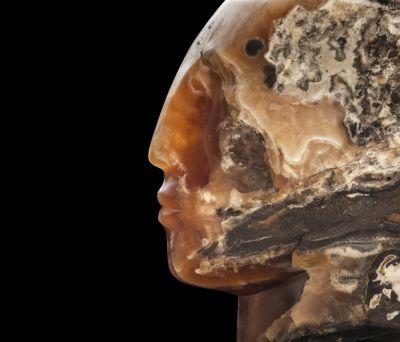 CLOUD FIRE HEAD,2015, caramel onyx,30x30x30cm