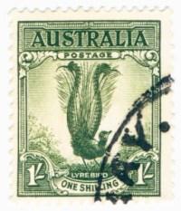 lyrebird on Australia 1 shilling stamp