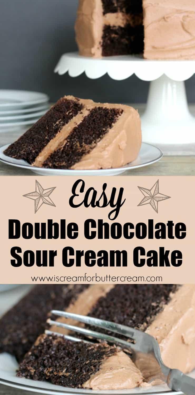 Easy Double Chocolate Sour Cream Cake - I Scream for Buttercream